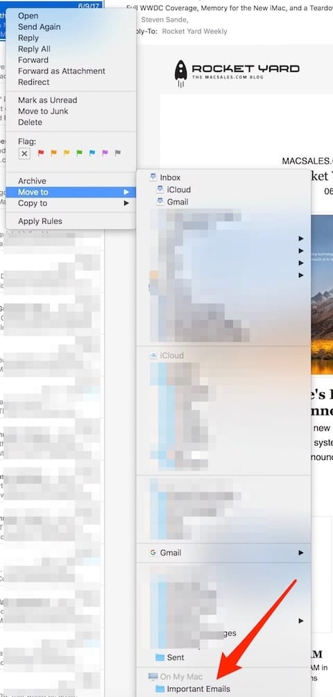 Way down at the bottom of this list of mailboxes is our Important Emails mailbox...on our Mac