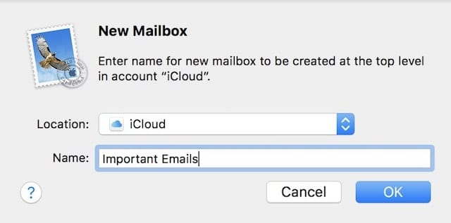 "Creating a new iCloud email mailbox named ""Important Emails"""