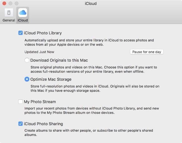 Enabling iCloud Photo Library