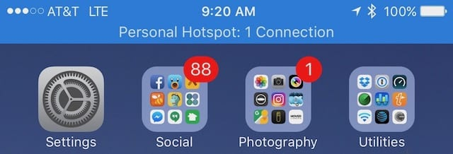 This iPhone is being used as a Personal Hotspot