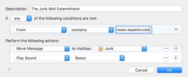The Junk Mail Exterminator rule