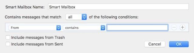 The Smart Mailbox dialog