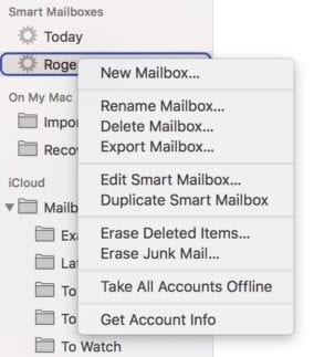 The context menu for a Smart Mailbox