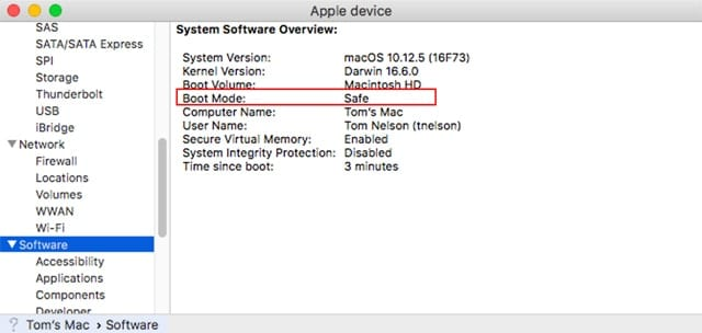 Another way to tell you're in Safe Mode is to check the system report, which displays the boot mode in use.
