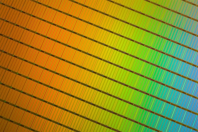 Closeup of a wafer of Micron's 3D NAND dies, used in SSDs. Image via Micron.
