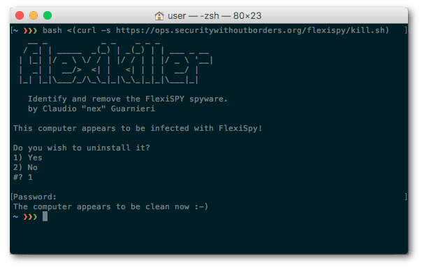 Flexikiller in operation on a Mac