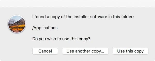 DiskMaker locates the macOS High Sierra installer