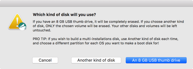 Select the type of disk being used