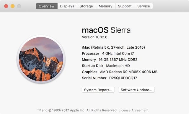About This Mac shows that this iMac is running 10.12.6