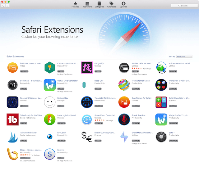 The new Safari Extensions page in the Mac App Store