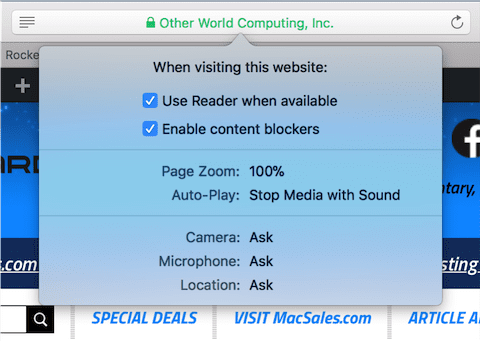 View settings for a website by right-clicking the address bar