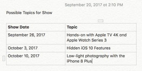 Tables in the Notes app provide a new way to organize information