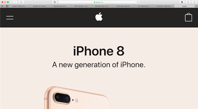 Zoomed in all the way on the Apple Home Page