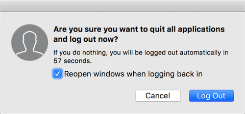 The log off verification dialog