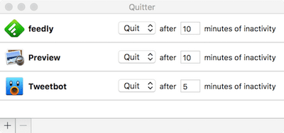 "Quitter's ""Rules"" for quitting or hiding apps automatically"