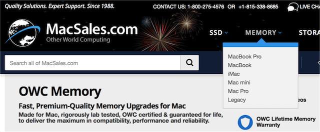 """Click on the """"Memory"""" link and select the type of Mac"""