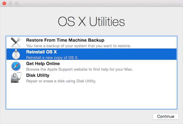 OS X Utilities, loaded from the Recovery partition