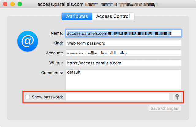 "Check the ""Show password"" box and enter the administrator password to view the saved password"