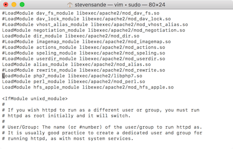 Editing the Apache configuration file in the vi editor