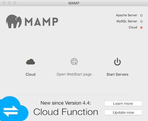 The MAMP startup interface
