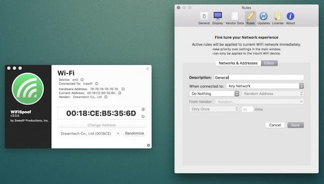 The WiFiSpoof Mac app