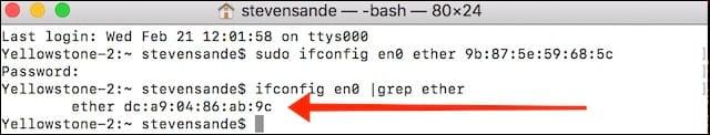 The MAC address has changed