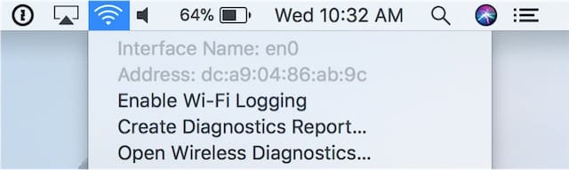 Screenshot of Finding the name of the Wi-Fi interface