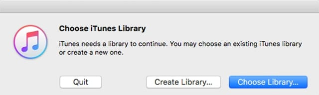 choose itunes library window