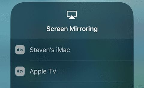 Selecting the AirPlay device that will mirror the iOS device