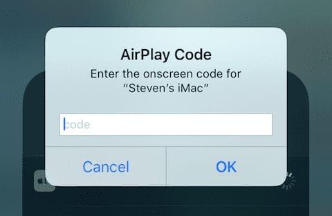 The dialog requesting the 4-digit AirPlay Code provided by Reflector 3