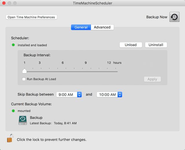 The TimeMachineScheduler (v 4.0 beta) user interface