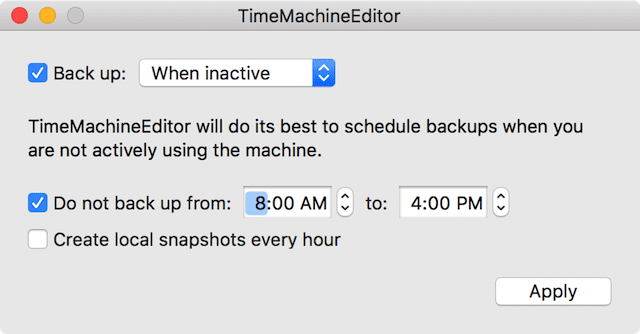 TimeMachineEditor being used to back up when the machine is inactive