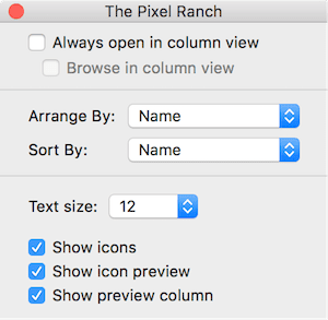 Column view options