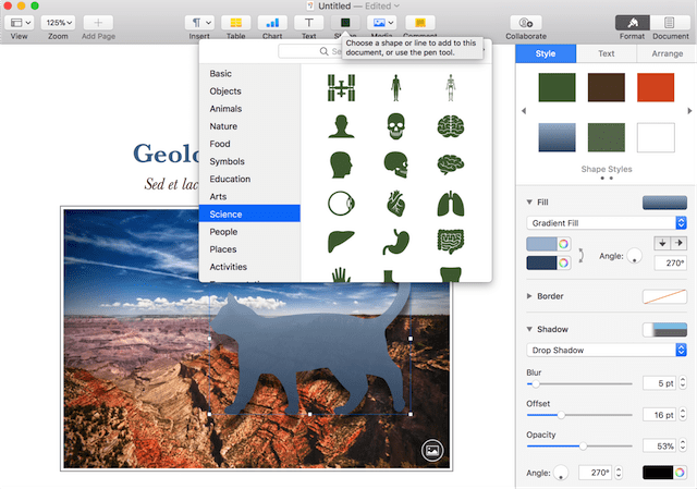 The new editable shapes available in iWork