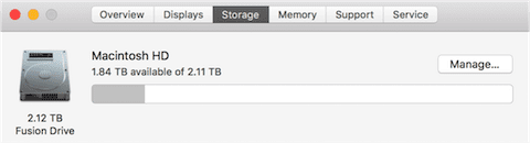 Checking the available and maximum capacity of a Mac's internal storage