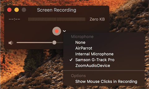 Setting the audio source for a screen recording.