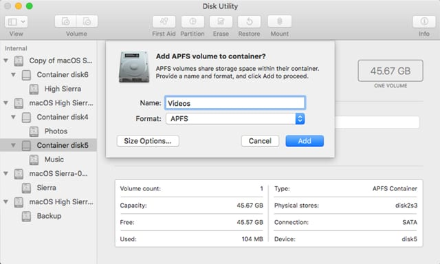 Use Disk Utility to Partition Drives and Create APFS Containers