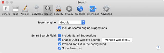 The Search pane in Safari Preferences