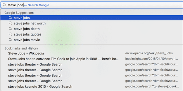 Google suggestions and history searches still appear with Safari Suggestions disabled