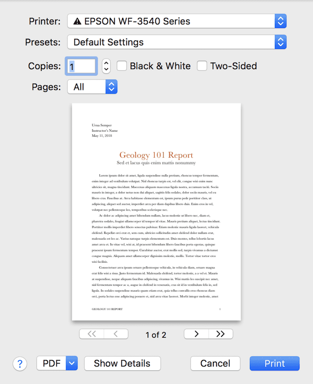 The default Print dialog