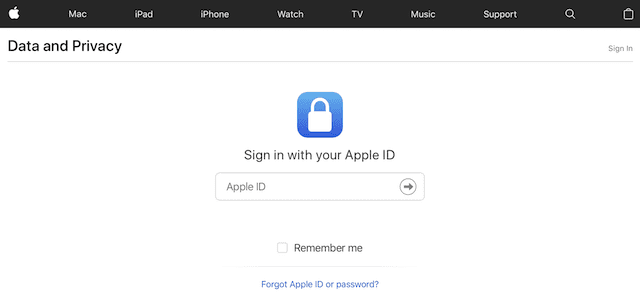 The sign-in screen for the Apple Data and Privacy website