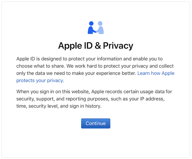 "The ""splash screen"" seen during login, with a short explanation of Apple's privacy policy"