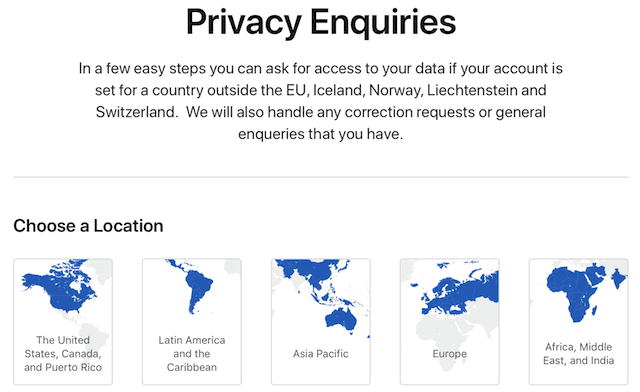 The Privacy Enquiries page is a gateway to user data