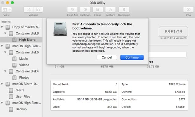 Verify and Repair HFS+, APFS Drives with Disk Utility's