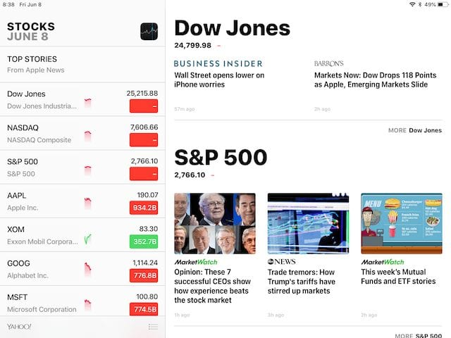 The newly revised Stocks app on iPad, with financial news on the right