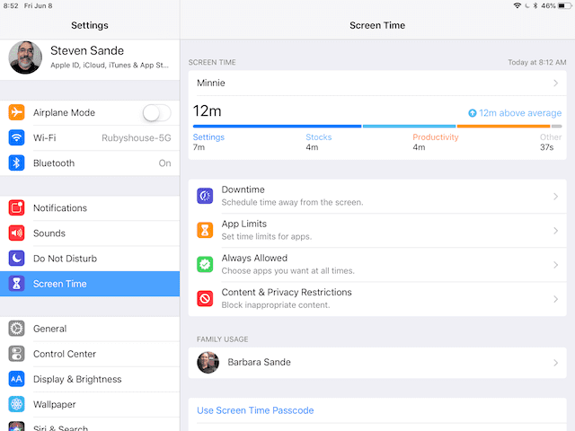 "The new Screen Time settings, part of Apple's ""Digital Health"" initiative"