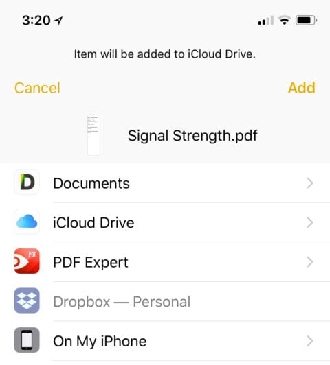 iOS allows you to save a PDF to compatible apps on the device or to cloud services
