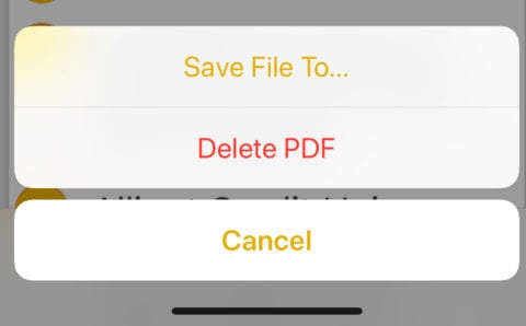 "Tapping ""Done"" on the PDF displays this dialog"