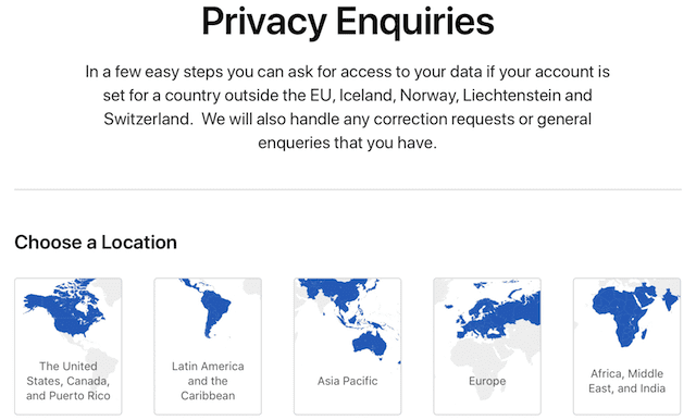 Click the button corresponding to the location of your Apple ID