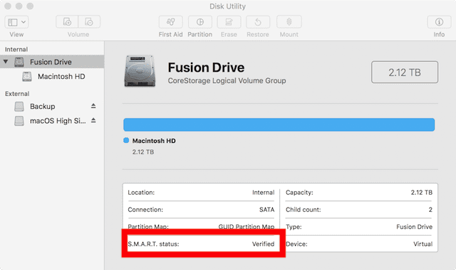 "SMART status of a drive will show ""Verified"", ""Failing"" or drive error messages"